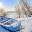Blue boat on danube river - Stock Photo