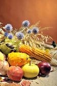 Arreglo con frutas y verduras de otoño — Foto de Stock