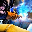 Welding with mig-mag method — Stock Photo #3535975