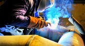 Welding with mig-mag method — Fotografia Stock