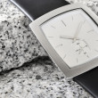 Foto de Stock  : The arm watch with the leather strap on stone