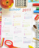 Calendar with school things — Stock Photo