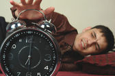 Stand up angry man with clock — Stock Photo