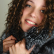 Woman in fur coat portrait — Stockfoto