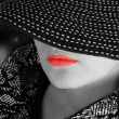 Womin hat black and white portrait — Stock Photo #2998090