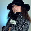 Stock Photo: Womin black hat fashion portrait