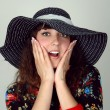 Woman in hat happy emotion portrait — Stock Photo