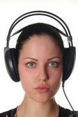 Mujer con retrato de auriculares — Foto de Stock