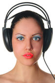 Glamour beauty woman in headphones portr — Photo