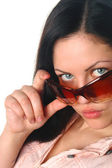 Young female in sunglass closeup portrai — Stock Photo