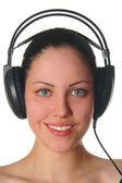 Smiling woman with headphones portrait — Stock Photo