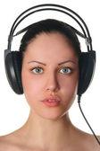 Beauty woman in headphones portrait — Stock Photo