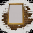 Illustration with old framework on a brick wall — Stock Photo #3590428