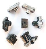 Many old cameras isolated — Stock Photo