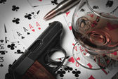 Gun cards cognac illustration — ストック写真