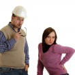Constructor with girl — Stock Photo
