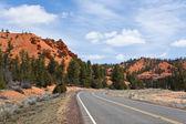 赤い峡谷を通って道 — ストック写真