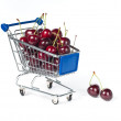 Metal shopping trolley filled with cherry — Stock Photo #3436738