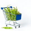 Metal shopping trolley filled with green pies — Stock Photo #3436972