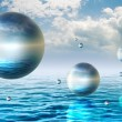 Floating spheres - Stock Photo