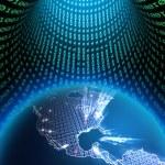 jorden världen i en binär data — Stockfoto