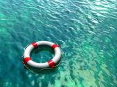 Salvagente sulla superficie trasparente blu e verde acqua. illustrazione digitale. — Foto Stock