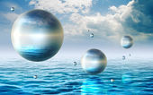 Floating spheres — Stock Photo
