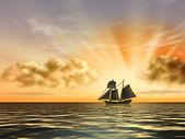 Ship at sunset — Stock Photo