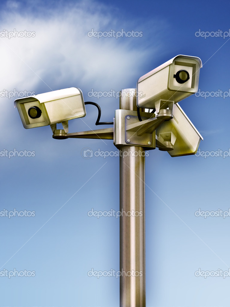 Three surveillance cams on a metal pole. Digital illustration. — Lizenzfreies Foto #2721119