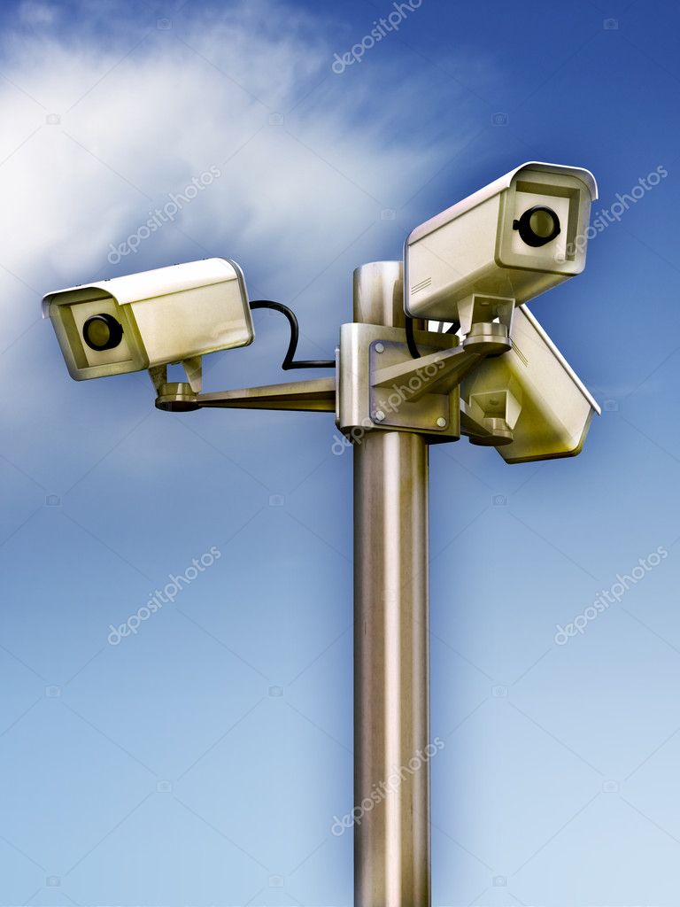 Three surveillance cams on a metal pole. Digital illustration.    #2721119