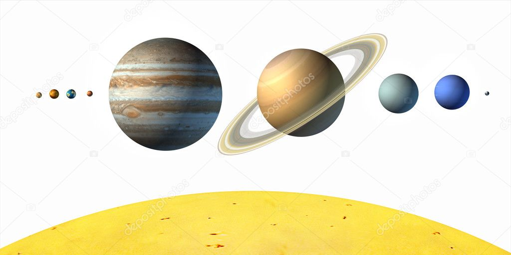 Planets from our solar system. White background. Digital illustration. — Stock Photo #2721211