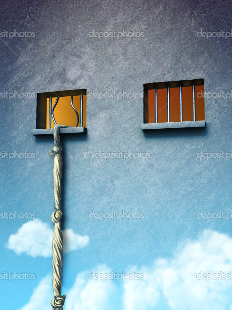 From prison to freedom. Original digital illustration. — Stock Photo #2721294