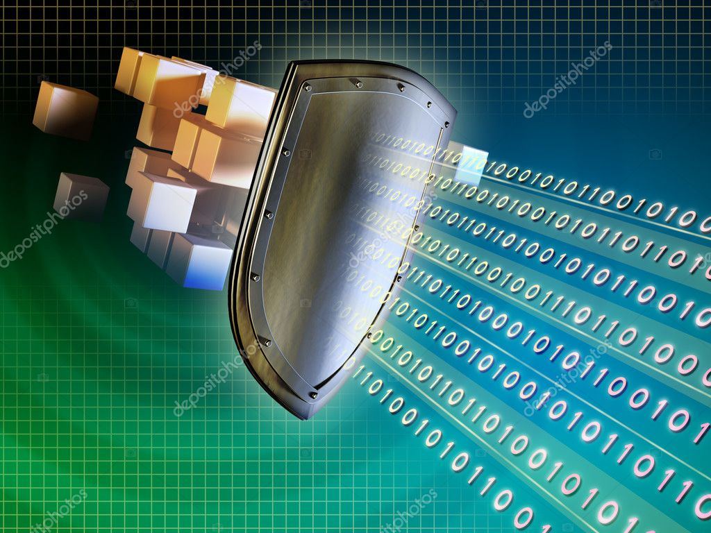 Metal shield protecting valuable data from external intrusions. Digital illustration. — Stock Photo #2721359