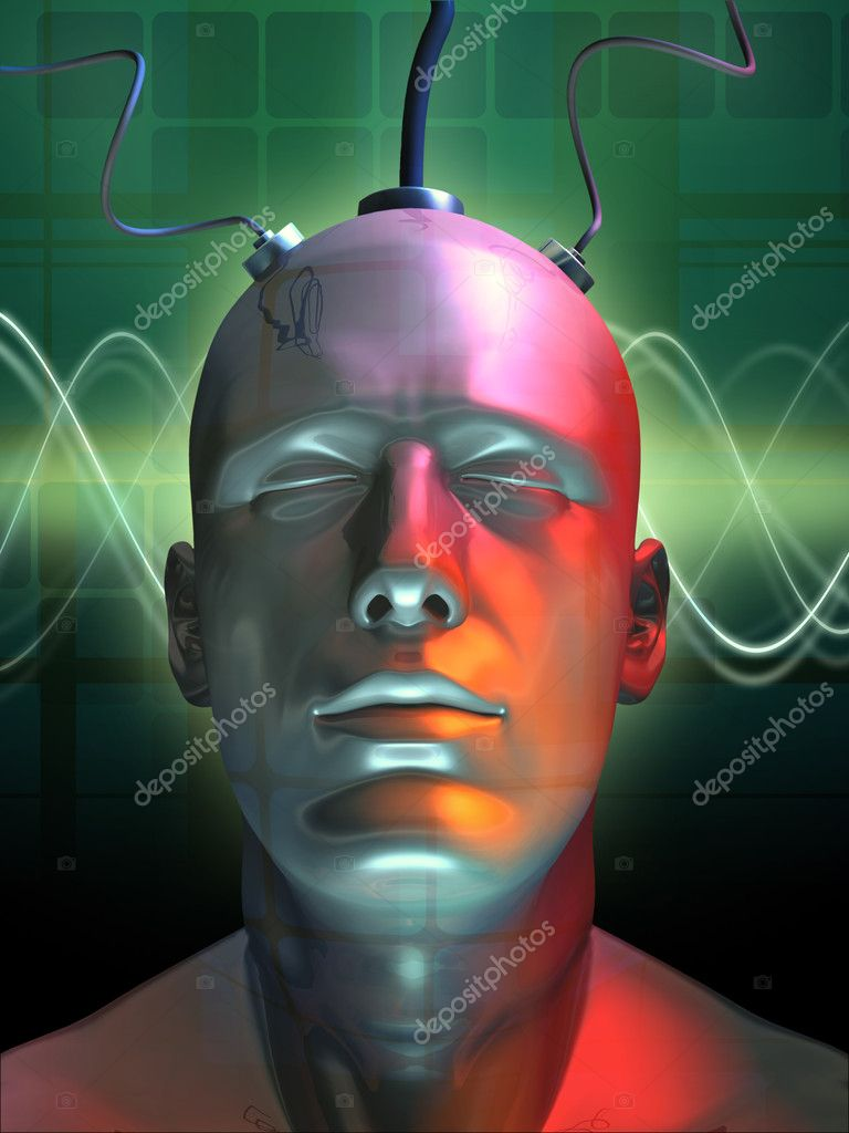 Wired android head. Digital illustration. — Stock Photo #2723762