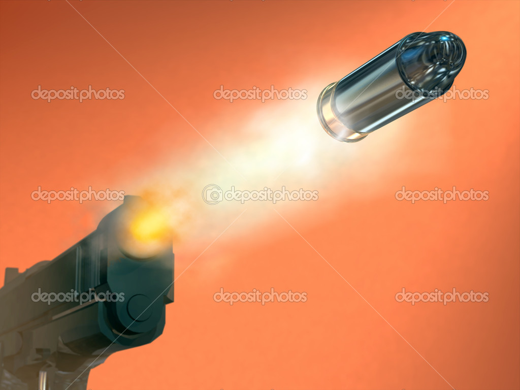 Handgun firing a bullett. Digital illustration.  Stock Photo #2724272