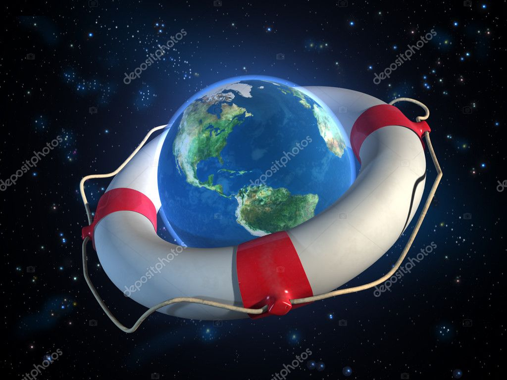 Planet Earth and a lifesaver in space. CG illustration. — Stock Photo #2724823