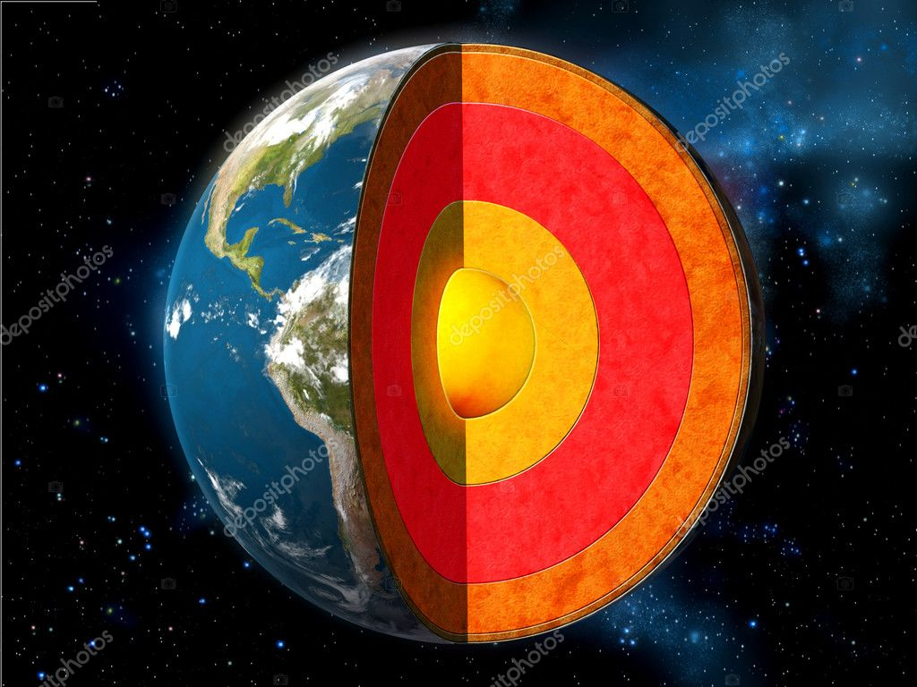 Earth cross section showing its internal structure. Digital illustration.  Stock Photo #2724907