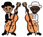 Double bass players — Stock Vector