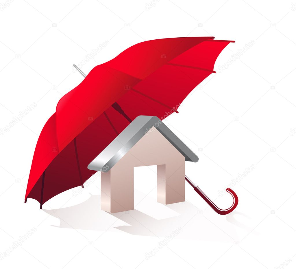 Model home and a red umbrella on a white background. — Stock Vector #3378432