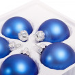 Boxes with blue baubles — Stock Photo