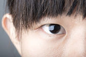 Close up zoom eye of an asian female — Stock Photo