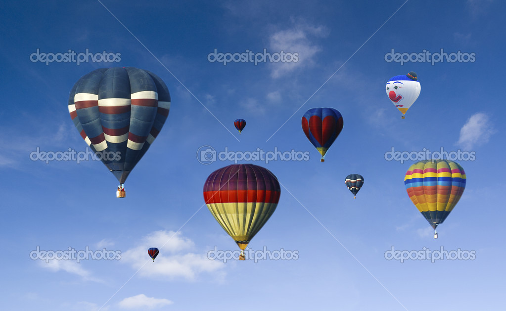 A lot of hot air baloons with blue sky background  — Stock Photo #3435513