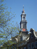 Tower of the famous Western church (Westerkerk), Amsterdam — Stock Photo