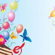 Balloons, cake, flowers and butterflies — Stock Photo