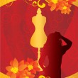 Fashion girl red gold backdrop — Stock Photo