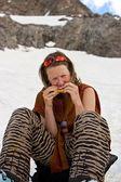Mittagessen auf dem schnee — Stockfoto