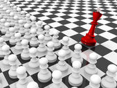 Pawns attacking king — Stock Photo