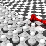 Pawns attacking king — Stock Photo