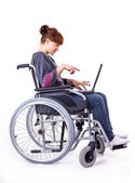 Girl on wheelchair — Stock Photo