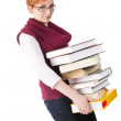 Girll with heavy books — Stock Photo #2882792